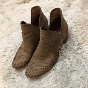 Lucky Brand BASHINA Perforated Tan Leather Bootie